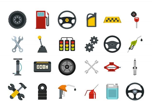 Jeu d'icônes de pièces de voiture. ensemble plat de collection d'icônes vectorielles en voiture pièces isolée Vecteur Premium