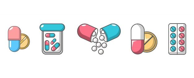 Jeu D'icônes De Pilules. Ensemble De Dessin Animé De Pilules Vector Icons Set Isolé Vecteur Premium