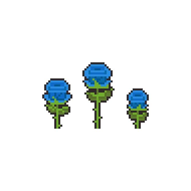 Jeu D'icônes De Pixel Art Bleu Rose. Vecteur Premium