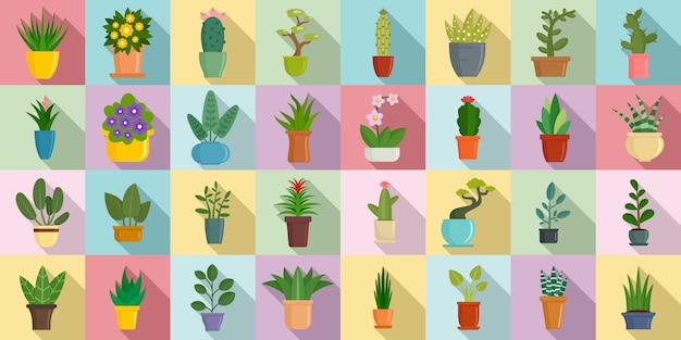 Jeu d'icônes de plantes d'intérieur Vecteur Premium