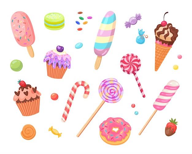 Jeu D'icônes Plat Bonbons Et Gâteaux Vecteur gratuit