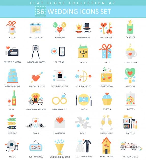 Jeu d'icônes plat de couleur de mariage de vecteur. Vecteur Premium