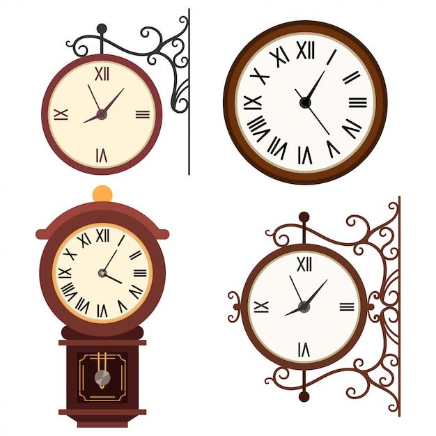 Jeu d'icônes plat de dessin animé vecteur rétro horloge murale isolé sur fond blanc. Vecteur Premium