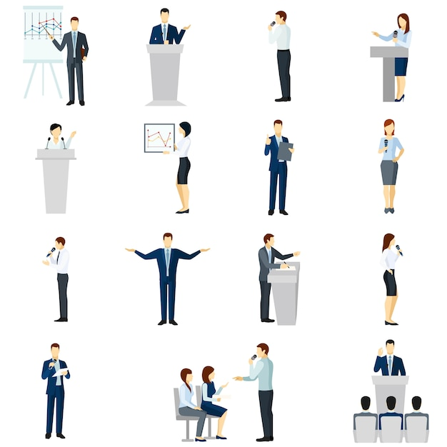 Jeu D'icônes Plat Gens Parlant En Public Vecteur gratuit