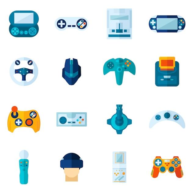 Jeu d'icônes plat de jeu vidéo Vecteur gratuit