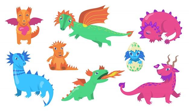 Jeu D'icônes Plat Mignon Dragons De Conte De Fées Vecteur gratuit