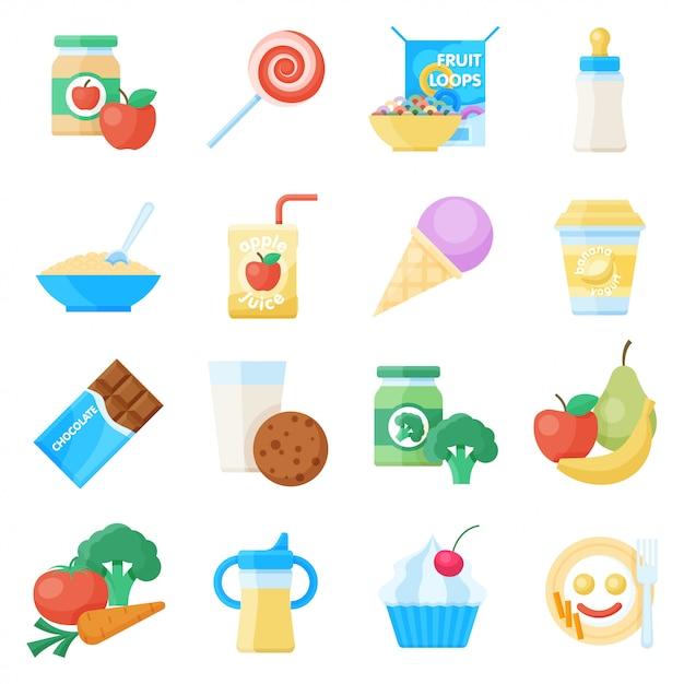 Jeu d'icônes plat de nourriture pour bébé Vecteur Premium