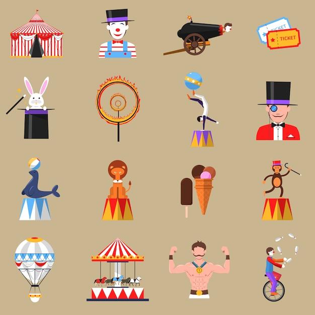 Jeu d'icônes plat rétro cirque imprimer Vecteur gratuit