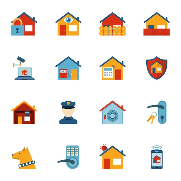 Jeu d'icônes plat système de sécurité à la maison intelligente Vecteur Premium