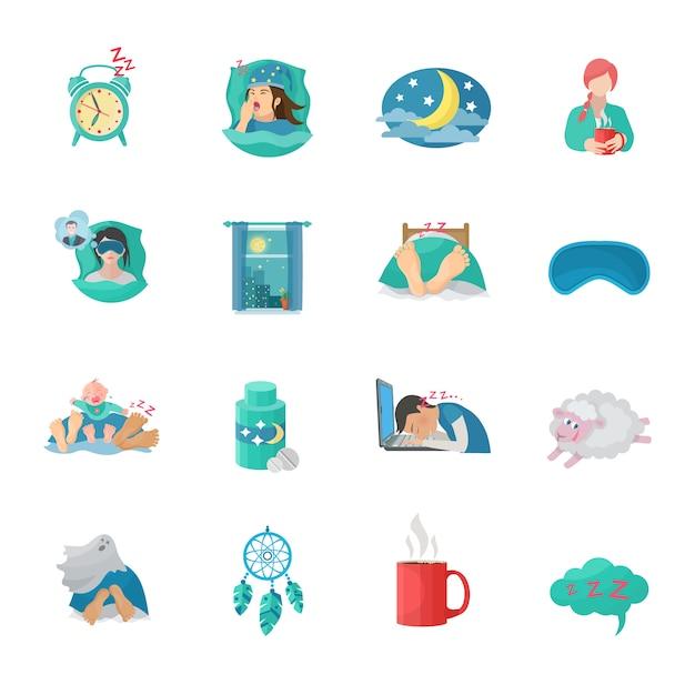 Jeu d'icônes plat temps de sommeil Vecteur gratuit