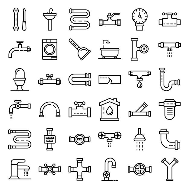 Jeu d'icônes de plomberie, style de contour Vecteur Premium