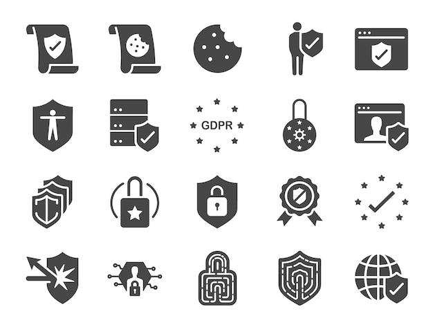 Jeu d'icônes de politique de confidentialité de gdpr. Vecteur Premium
