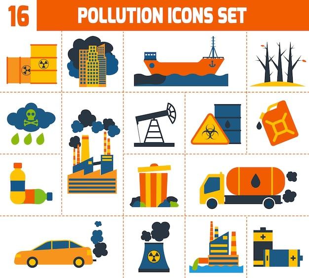 Jeu d'icônes de la pollution Vecteur gratuit