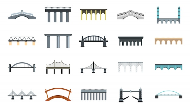 Jeu D'icônes De Pont. Ensemble Plat De Collection D'icônes De Vecteur Pont Isolé Vecteur Premium