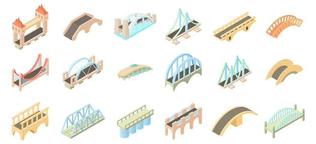 Jeu d'icônes de pont Vecteur Premium