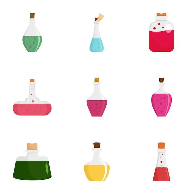 Jeu d'icônes de potion elixir, style plat Vecteur Premium
