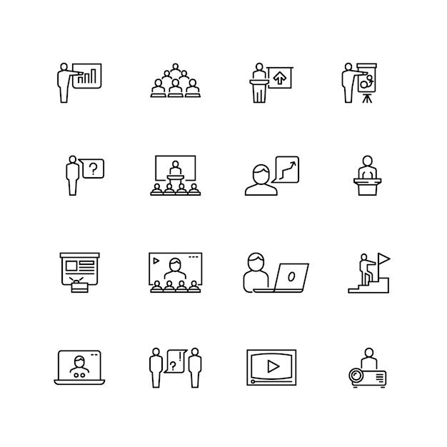 Jeu d'icônes de présentation et de conférence Vecteur Premium