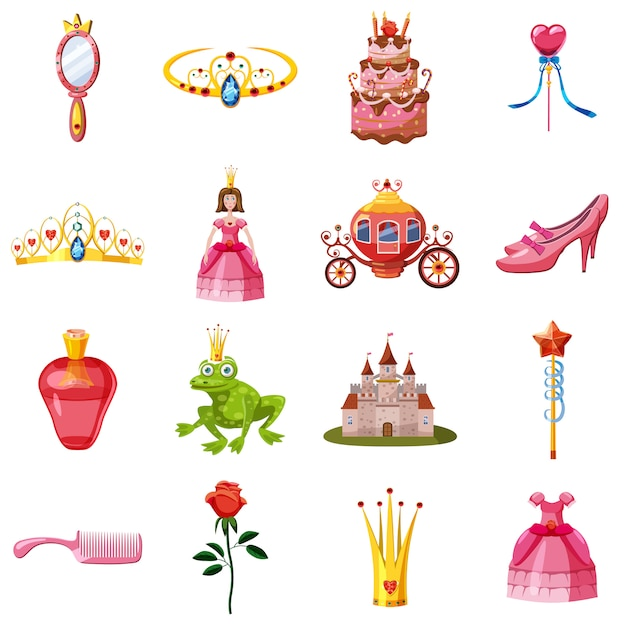 Jeu d'icônes de princesse de conte de fées, style cartoon Vecteur Premium