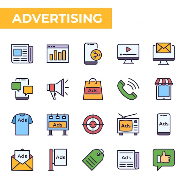Jeu d'icônes de publicité, style de couleur rempli Vecteur Premium