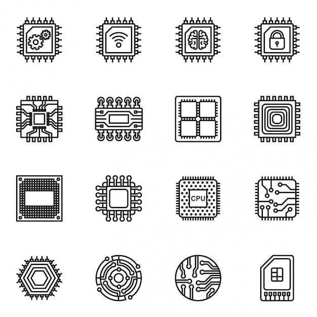Jeu d'icônes de puces informatiques et circuit électronique Vecteur Premium