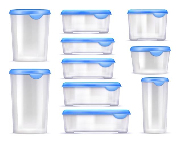 Jeu d'icônes réaliste de conteneurs de nourriture Vecteur gratuit