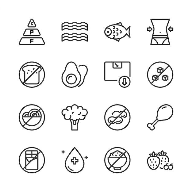 Jeu d'icônes de régime cétogène Vecteur Premium