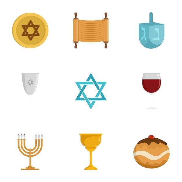 Jeu d'icônes de religion juive, style plat Vecteur Premium