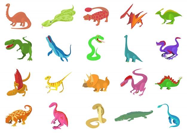 Jeu d'icônes de reptile Vecteur Premium