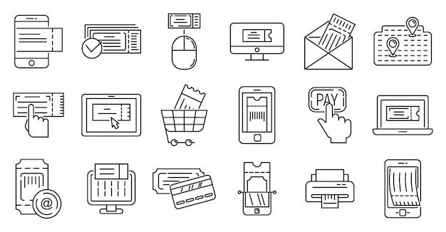 Jeu D'icônes De Réservation De Billets En Ligne Vecteur Premium