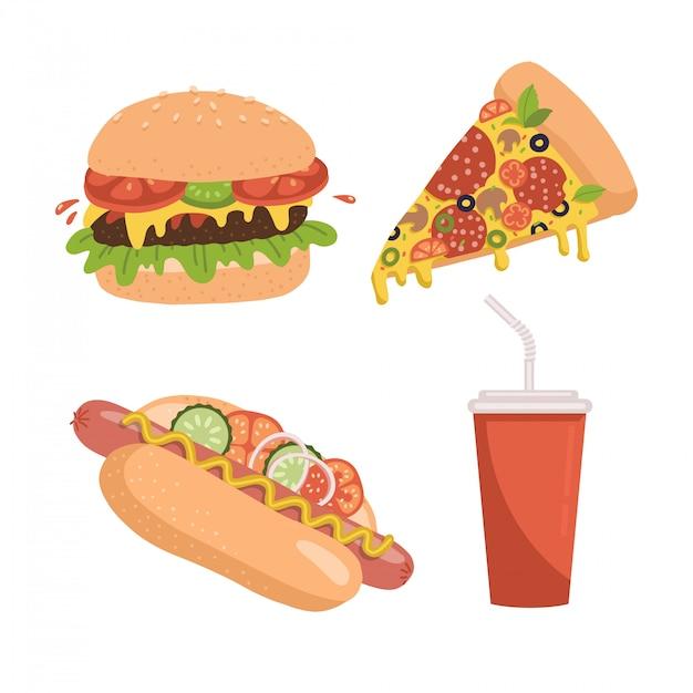 Jeu D'icônes De Restauration Rapide. Comprend Des Illustrations D'une Tranche De Pizza, D'un Hamburger, D'un Hot-dog Et D'une Tasse De Soda. Flan Dessiné à La Main. Vecteur Premium