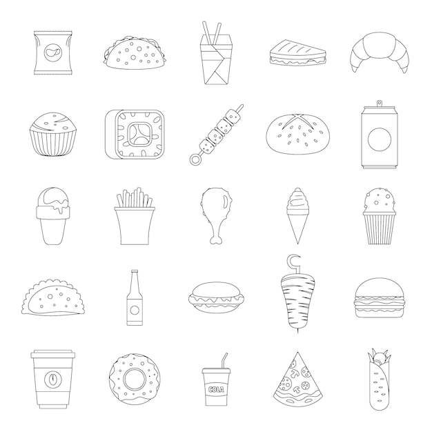 Jeu d'icônes de restauration rapide Vecteur Premium