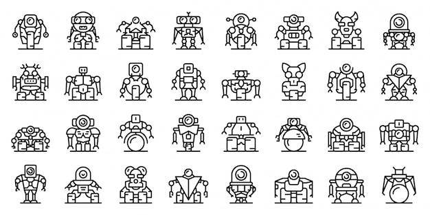 Jeu d'icônes de robot-transformateur, style de contour Vecteur Premium