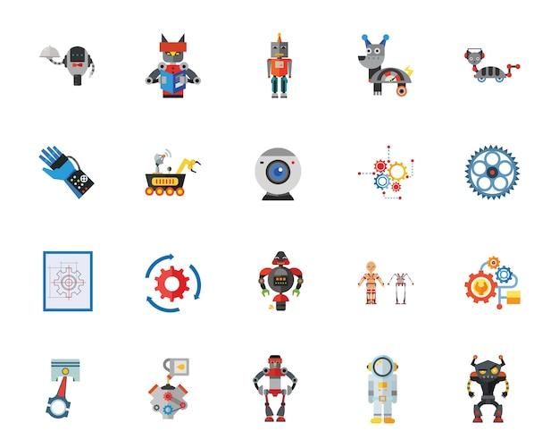 Jeu d'icônes de robots Vecteur gratuit