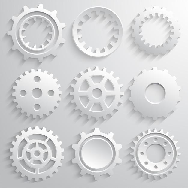 Jeu d'icônes de roues dentées Vecteur Premium