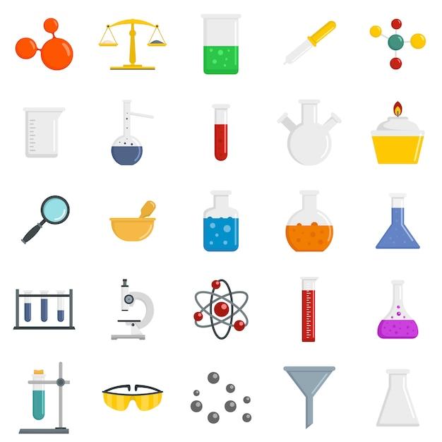 Jeu d'icônes de science chimie Vecteur Premium