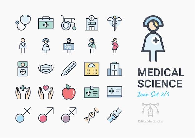 Jeu d'icônes de la science médicale Vecteur Premium