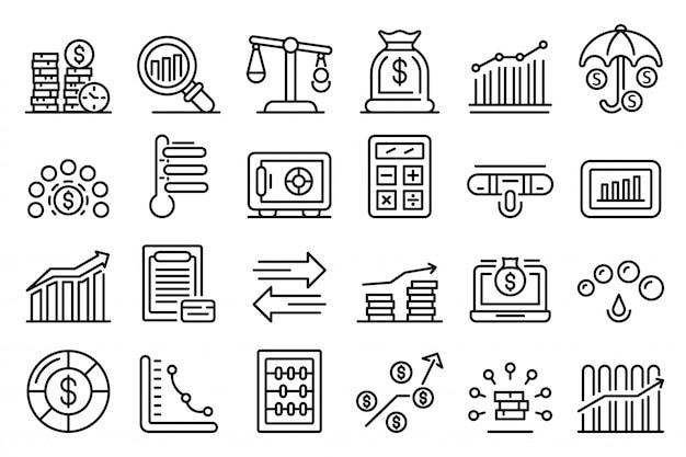 Jeu d'icônes de score de crédit, style de contour Vecteur Premium