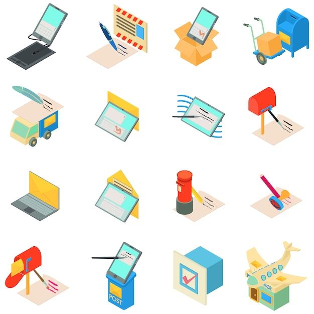 Jeu D'icônes De Service De Messagerie Vecteur Premium