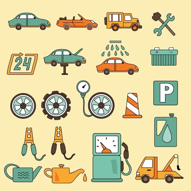 Jeu d'icônes de service de réparation automobile auto Vecteur Premium