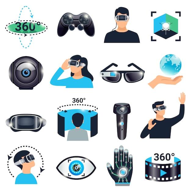 Jeu d'icônes de simulation de visualisation de réalité virtuelle Vecteur gratuit