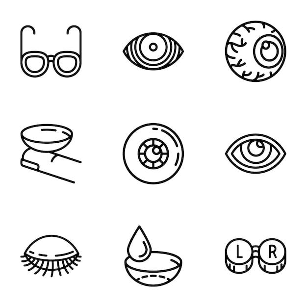 Jeu d'icônes de soins oculaires, style de contour Vecteur Premium