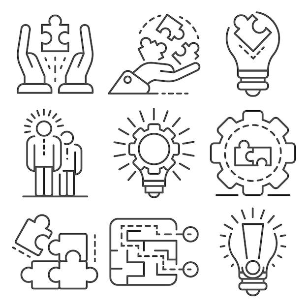 Jeu d'icônes de solution. ensemble de contour des icônes vectorielles solution Vecteur Premium