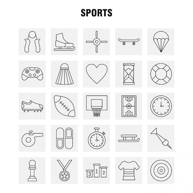 Jeu d'icônes sports line Vecteur gratuit