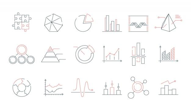 Jeu D'icônes De Statistiques Graphiques Vecteur Premium