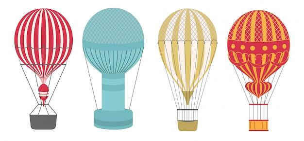 Jeu D'icônes De Style Ballon Air Aérostat. Propre Et Simple. Vecteur Premium