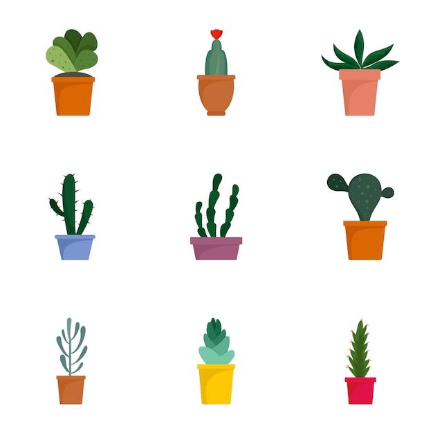 Jeu d'icônes succulentes. ensemble plat de 9 icônes vectorielles succulentes Vecteur Premium