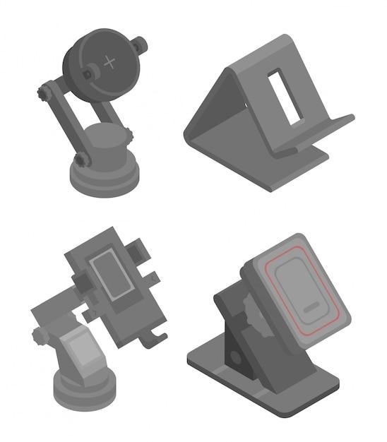 Jeu d'icônes de support de téléphone mobile, style isométrique Vecteur Premium