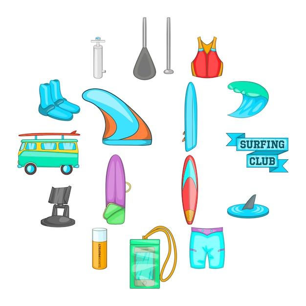 Jeu d'icônes de surf, style cartoon Vecteur Premium