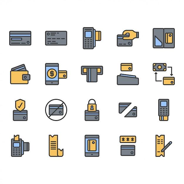Jeu D'icônes De Symbole De Carte De Crédit Vecteur Premium