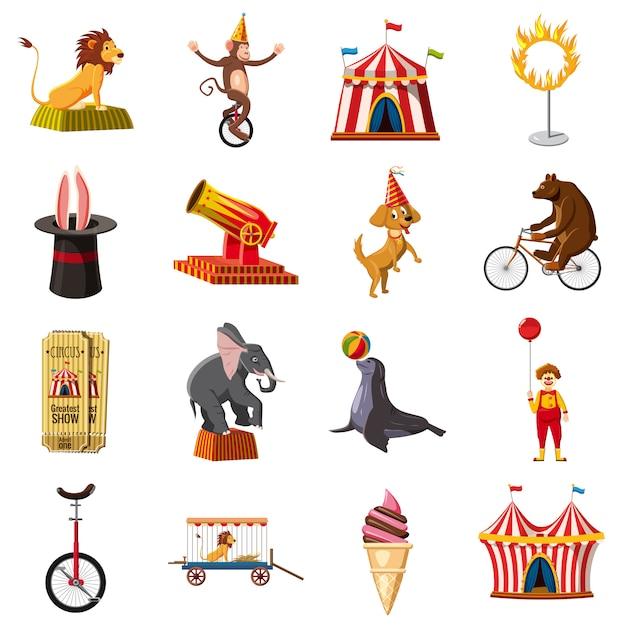 Jeu d'icônes de symboles de cirque, style cartoon Vecteur Premium